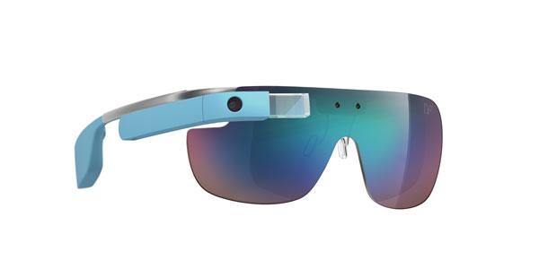 DVF   Made for Glass のサングラスタイプ。 スポーティーな1枚レンズで、Google Glass 本体が水色なのもおしゃれ。 【クリックして拡大