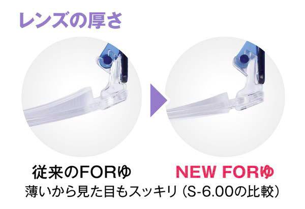 新旧「FORゆ」のレンズの厚さを比較した写真(S-6.00)。 (左)従来の「FORゆ」。(右)「NEW FORゆ」。 「NEW FORゆ」は、レンズが薄く見た目がスッキリ。 image by 愛眼