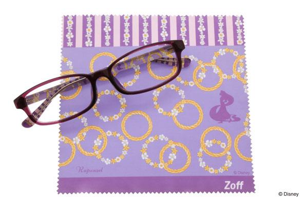 Disney Collection created by Zoff (ディズニーコレクション クリエイティッド バイ ゾフ)「ラプンツェル」 紫色のテンプル(つる)もかわいいスクエアフレーム。 image by インターメスティック