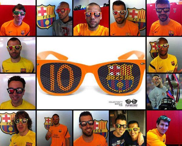 nunettes(ヌネット)は、スペインのFCバルセロナとライセンス契約。多くのスター選手が着用。ヨーロッパでは、ユニフォーム、タオル、マフラーに並ぶサポーター必須アイテムとなっており、100万個以上の販売実績がある。 image by KONNEKT INTERNATIONAL