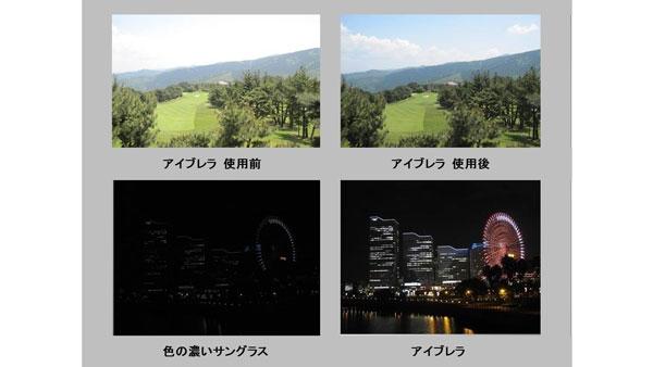 アイブレラのレンズ効果を画像でチェック。アイブレラがクリアに見えることが分かる。 (上左)アイブレラ 使用前(上右)アイブレラ 使用後 (下左)色の濃いサングラス(下右)アイブレラ image by SUPLUS 【拡大】