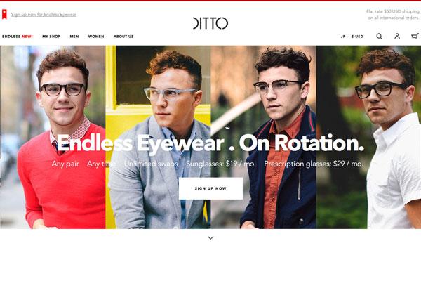 Endless Eyewear は、サングラスは月々19ドル(約2,300円)、度付きメガネは月々29ドル(約3,500円)の月額制。 (出典)https://www.ditto.com/endless