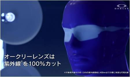 「オークリーレンズは紫外線を100%カット」 image by オークリージャパン
