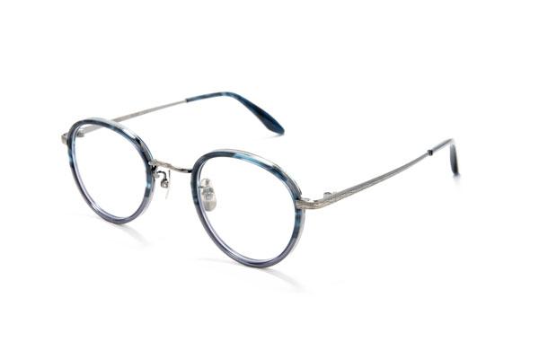 STANCEY RAMARS(スタンシー ラマーズ)SR-005 C.3 一歩差がつくクラシックメガネを掛けたいひとには、ブルーグレー×アンティークシルバーもオススメ。
