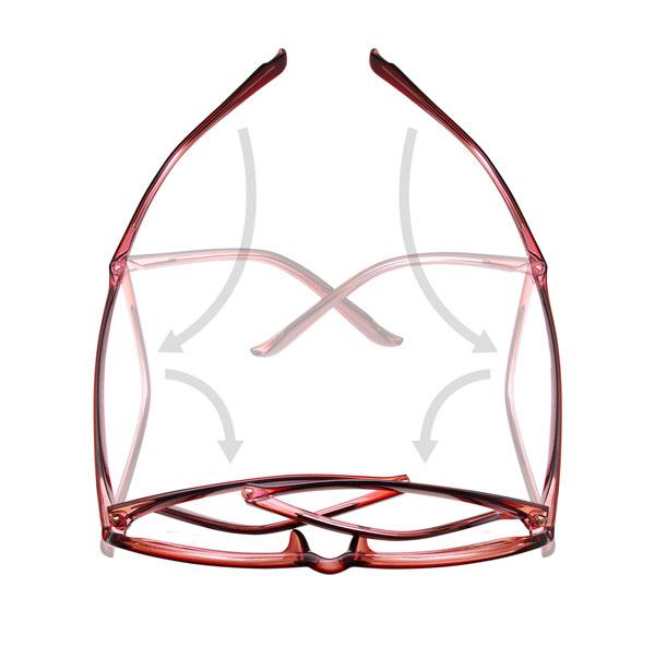 愛眼「Blan Blan」は、テンプル(つる)の長さが通常のメガネの約2倍なので、首から提げたり頭にのせてもしっかり安定。しかも、折りたたんでケースに入れて持ち運べるのがポイント。 image by 愛眼