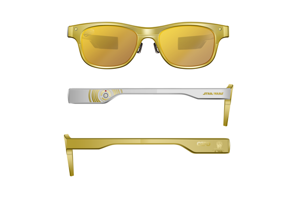 JINS MEME ES STAR WARS Edition C-3PO モデル 価格:300,000円(税別) 限定3本 フロントと左テンプルはゴールド、右テンプルはC-3POの右足をモチーフにしたシルバーカラー。