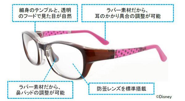 Zoff(ゾフ)の花粉対策メガネ AIR VISOR(エア・バイザー)ディズニーモデルは、細身のテンプル(つる)と透明なフードで普段使いしやすいデザイン。耳に掛かる部分や鼻パッドは、ラバー素材なのでピッタリ掛かるように調整可能。防曇レンズが付いているので、マスクと併用してもメガネがくもりにくい。 image by インターメスティック