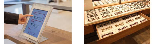 見やすく選びやすいディスプレイやタブレット端末などが設置された店内。見やすく選びやすいディスプレイやタブレット端末などが設置された店内。