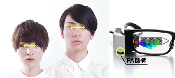 顔のカタチや左右の眼の距離に合わせて映像を映す角度を調節できる「PA機構(パーソナルアジャスター)」を採用。 image by 東芝