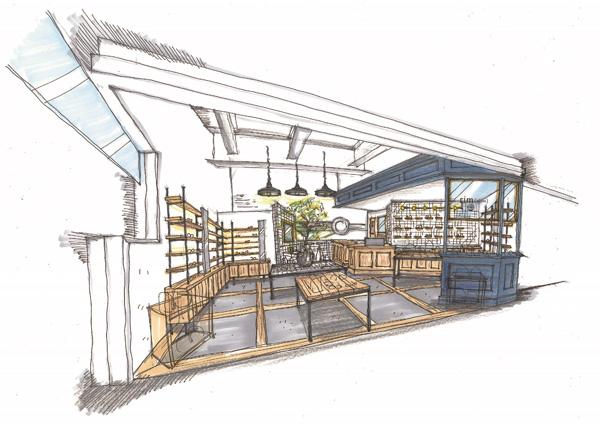 rim of jins ルミネ新宿店のイメージ画像 ブルーグレーと白を基調とし、洗練された空間になるという。