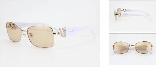 GACKT × VARTIX EYEWEAR VS-02メタルサングラス 価格:38,000円(税込) カラー:ピンクゴールド/ホワイト/茶色 ※クリスタル付き image by ビジョンメガネ
