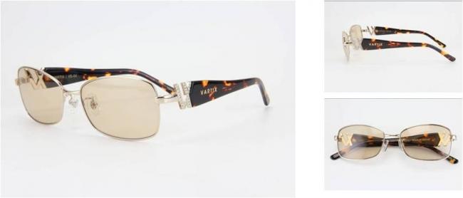 GACKT × VARTIX EYEWEAR VS-04メタルサングラス 価格:38,000円(税込) カラー:ピンクゴールド/べっ甲/茶色 ※クリスタル付き image by ビジョンメガネ