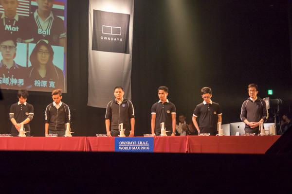 青コーナーには日本代表3名、マレーシア・タイ・カンボジア代表各1名の計6名。