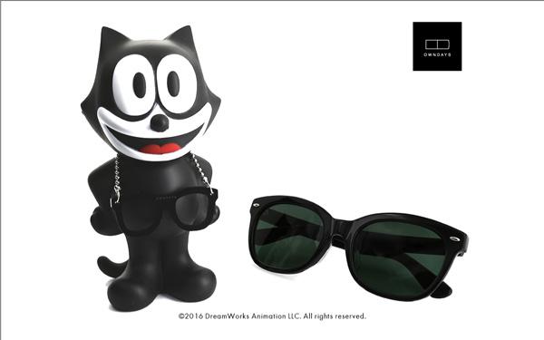 FELIX The CAT OWNDAYS Model(フィリックス・ザ・キャット オンデーズ モデル) MOB009-FELIX1 C1(フィギュア:ブラック、サングラス:ブラック) 価格:9,980円(税別) image by OWNDAYS