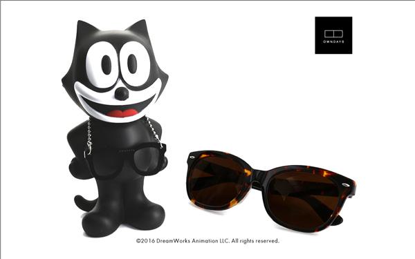 FELIX The CAT OWNDAYS Model(フィリックス・ザ・キャット オンデーズ モデル) MOB009-FELIX1 C2(フィギュア:ブラック、サングラス:べっ甲柄) 価格:9,980円(税別) image by OWNDAYS
