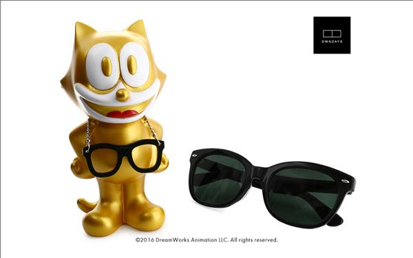 FELIX The CAT OWNDAYS Model(フィリックス・ザ・キャット オンデーズ モデル) MOB009-FELIX1 C2(フィギュア:ゴールド、サングラス:ブラック) 価格:9,980円(税別) image by OWNDAYS