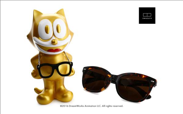 FELIX The CAT OWNDAYS Model(フィリックス・ザ・キャット オンデーズ モデル) MOB009-FELIX1 C2(フィギュア:ゴールド、サングラス:べっ甲柄) 価格:9,980円(税別) image by OWNDAYS