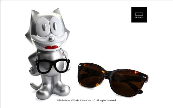 FELIX The CAT OWNDAYS Model(フィリックス・ザ・キャット オンデーズ モデル) MOB009-FELIX3 C2(フィギュア:シルバー、サングラス:べっ甲柄) 価格:9,980円(税別) image by OWNDAYS