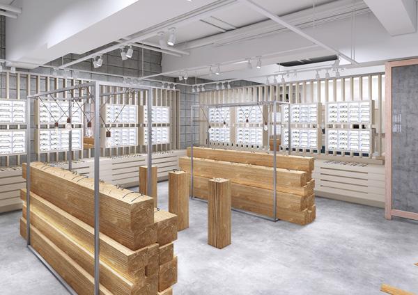 木材を積み上げたかのような什器など、商品カテゴリごとにデザインされた陳列スペース。