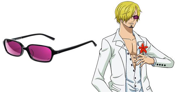 [サンジ] モデルは、黒のスクエアフレームにパープルのカラーレンズをセット。カジノのシーンでサンジが掛けているサングラスを忠実に再現。
