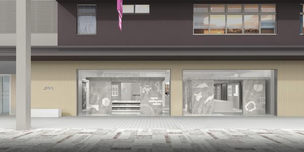 JINS 京都寺町店には、「母屋」と「離れ」という2つの空間が存在。コンクリート造りで静寂な雰囲気の空間に、京都のモチーフを採り入れたポップなグラフィックが彩りを添える。