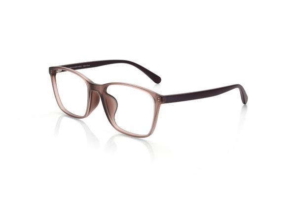 JINS(ジンズ)「Trend Shape Airframe(トレンドシェイプ エアフレーム)」 LRF-16A-255 カラー02(マットクリアピンク×マットブラウン) ピンクベージュのメガネとシアーなベージュリップを合わせてクールな透明感をオン。