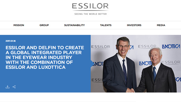 「Essilor and Delfin to create a global integrated player in the eyewear industry with the combination of Essilor and Luxottica - Essilor Group」(スクリーンショット)