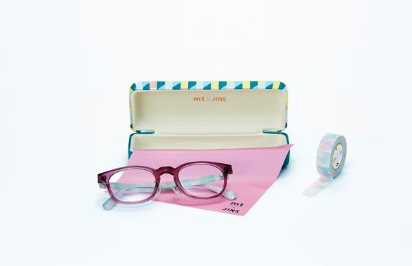 「mt×JINS」第2弾「PATTERN」 オリジナルケース、メガネ拭き、テンプルとおそろいのマスキングテープが付属。