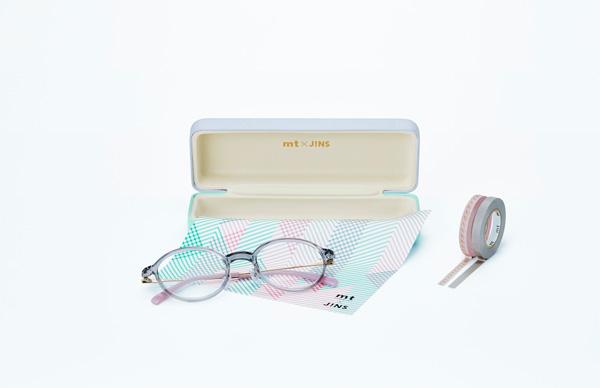 「mt×JINS」第2弾「COLOR」 オリジナルケース、メガネ拭き、テンプルとおそろいのマスキングテープが付属。