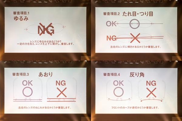 「ツーポグランプリ」には8つの審査項目が設けられている。 1.【ゆるみ】「レンズにゆるみがあるかどうか?一定の力を加え、レンズを上下に動かし、シンサします。」 2.【たれ目・つり目】「左右のレンズに傾きがあるかどうか審査します。」 3.【あおり】「左右のレンズにねじれがあるかどうか審査します。」 4.【反り角】「フロントのカーブが適切かどうか審査します。」