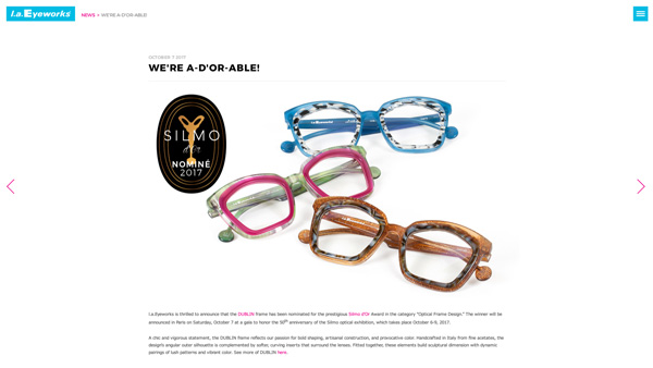 「WE'RE A D'OR ABLE! | l.a.Eyeworks」(スクリーンショット)