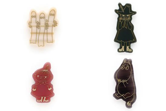 MOOMIN×JINS ピンバッジ (左上から時計回り)ニョロニョロ、スナフキン、リトルミイ、ムーミン 価格:1,500円(税別)