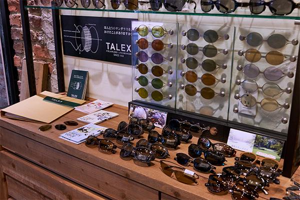 店頭にはTALEX(タレックス)偏光レンズのサンプルのほか、見え方の比較画像なども置かれていて、見え方の違いを試して体感できる。