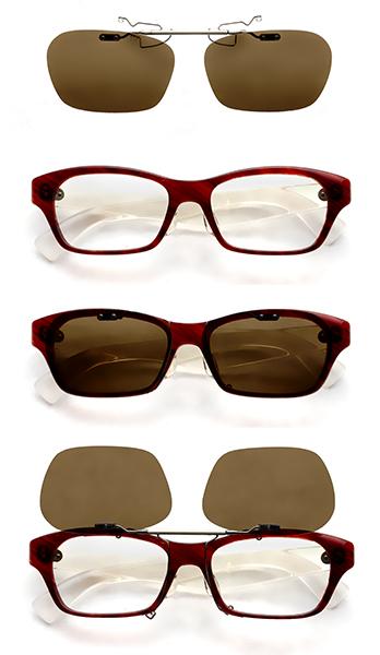 クリップオンサングラス「シーザーフリップ2」は、自分のメガネのカタチにあわせて作れるのが特長。跳ね上げ式なので、運転中にトンネルに入ったときにもサッと対応できる。レンズは標準で偏光機能が付いているので、クリアな視界が得られる。価格:8,640円~9,800円(税込)