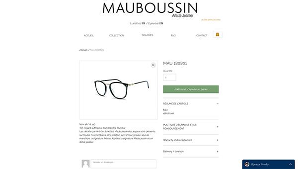「MAU 180801 | Lunettes | Mauboussin Eyewear」 (スクリーンショット)