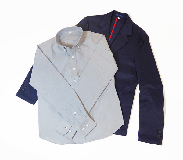 ベーシックなオックスフォードシャツとテーラードジャケットとの組み合わせ。