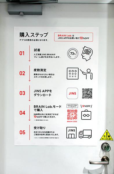 JINS BRAIN Lab.エキュート上野店の「購入ステップ」
