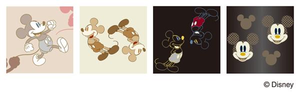 ミッキーマウスのオリジナルパターン。大人にも似合うラインアートやシルエットのミッキーをデザイン。