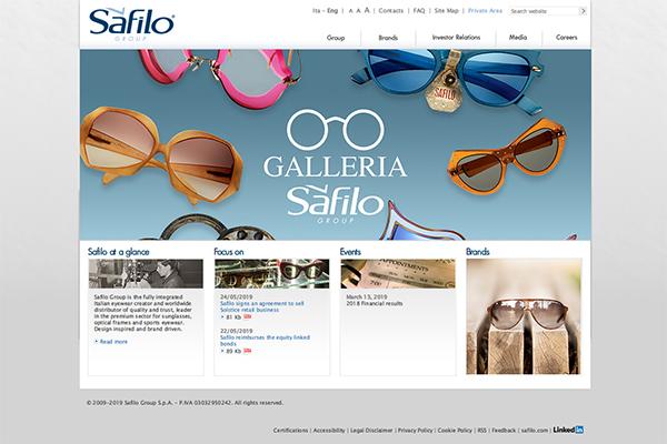 「Safilo Group - Corporate website」 (スクリーンショット)