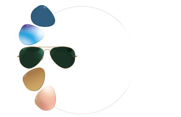 Ray-Ban(レイバン)の代表的カラー「G-15」をはじめ、さまざまなパリエーションがそろう。