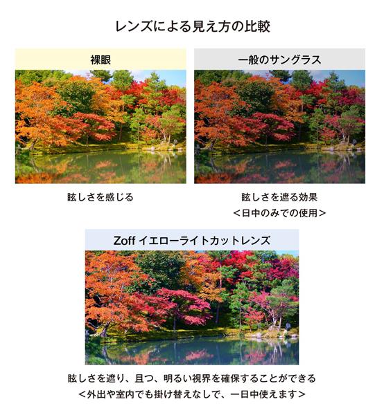 レンズによる見え方の比較