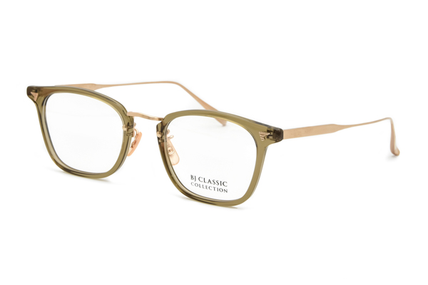 BJ Classic Collection(ビージェー クラシック コレクション)COM-554GT C-119-1 CLEAR OLIVE-GOLD(ACETATE)※斜め