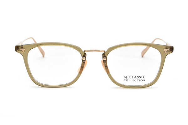 BJ Classic Collection(ビージェー クラシック コレクション)COM-554GT C-119-1 CLEAR OLIVE-GOLD(ACETATE)※正面