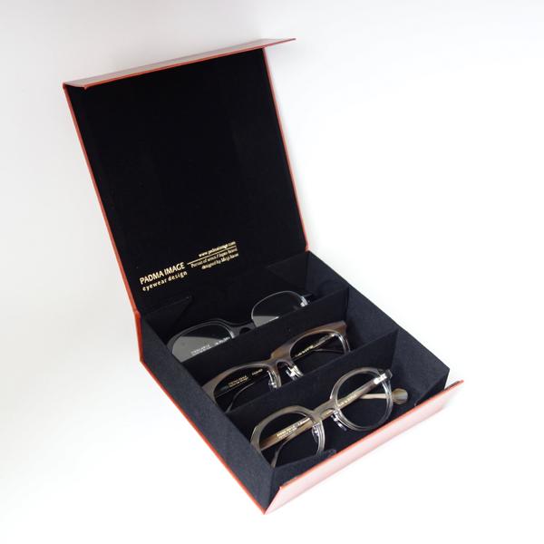 PADMA IMAGE(パドマイメージ) 四角の眼鏡ケース カラー:Brown ※フタを開けたところ
