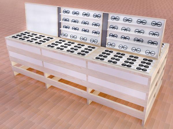 佐賀県産ヒノキ材と名尾手すき和紙を使用した什器。