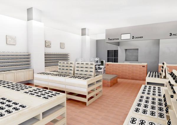 佐賀ならではの質感や色合いを表現することを目指してデザインされた店舗空間。レンガ状のタイルも印象的。