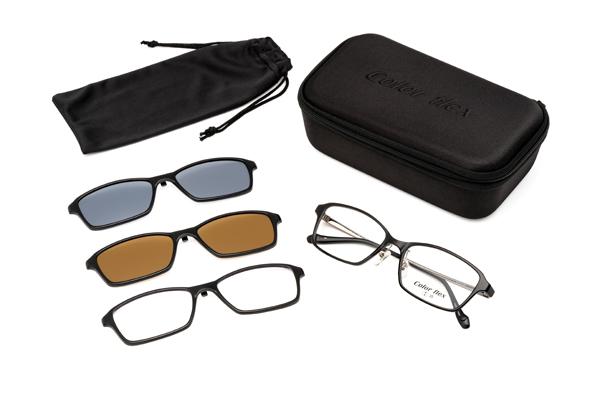 眼鏡市場 FUN GLASSES(ファングラス) multi(マルチ) CFX-514 カラー:BK(ブラック、写真)・DMBR(デミブラウン)・GR(グレー)セット内容
