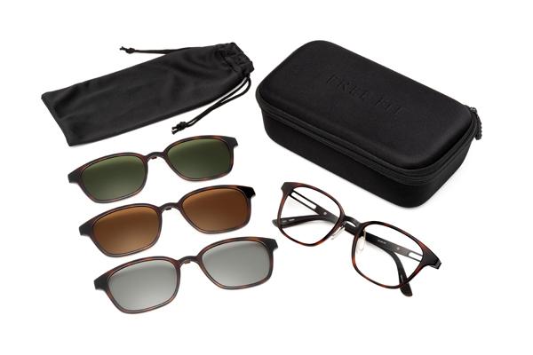 眼鏡市場 FUN GLASSES(ファングラス) active(アクティブ) FFT-CLIP01 カラー:BKM(ブラックマット)・DMBR(デミブラウン、写真)・NVM(ネイビーマット)セット内容