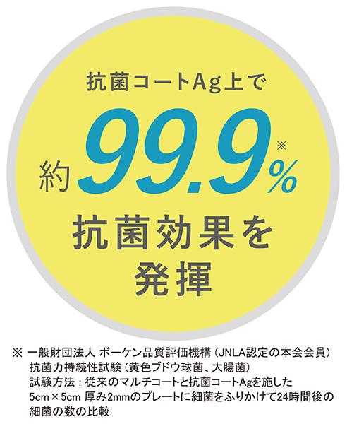 抗菌コートAg上で約99.9%抗菌効果を発揮