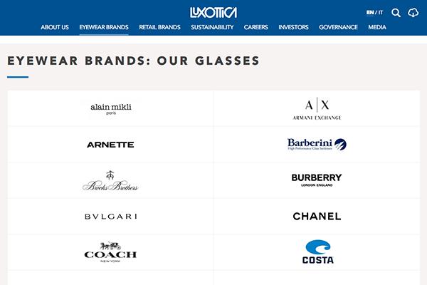「Eyewear Brands: our glasses   Luxottica」 (スクリーンショット)